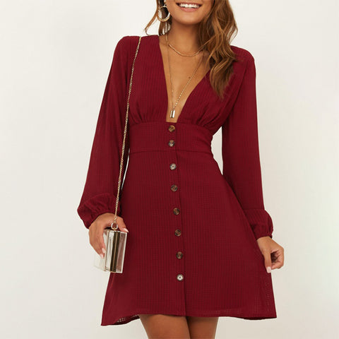 Sexy casual deep V-neck long sleeve dress