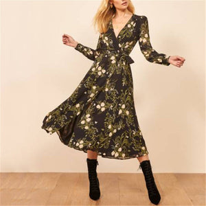 Fashion Deep V Neck Floral Printed Dress