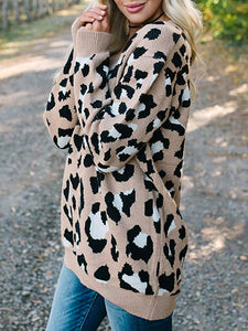 Fashion V Neck Leopard Print Loose Sweater