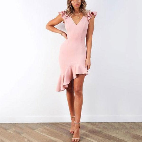 V Neck Backless Ruffled Straps Asymmetrical Midi Bodycon Dresses