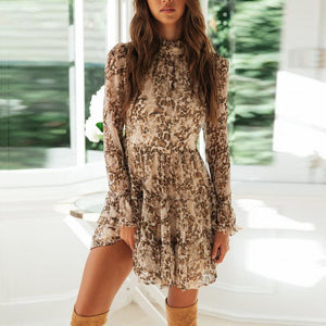 Lace-Neck Print Long-Sleeved Mini Dress