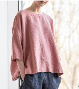 Solid Color Casual Loose Solid Color 1/2 Sleeve Shirt