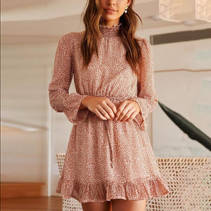 Round Neck Floral Leopard Long Sleeve Mini Dress