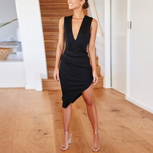 Stylish Solid Color V-Neck Asymmetrical Hem Dress(Video)