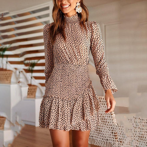 Printed Waist Long Sleeve Asymmetric Stitching Leopard Mini Dress