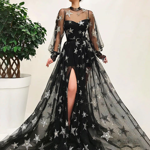 Women's Sexy Organza Stand Collar Star Printed Slit Evening Dress