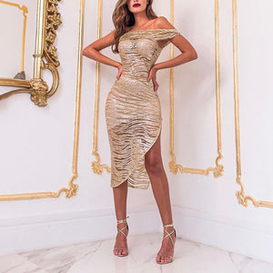 Women's Sexy Bronzing Short Off-shoulder See-through Slit Dress
