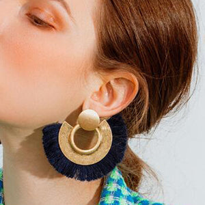 Personality temperament circle tassel earrings