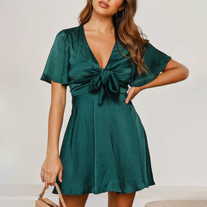 Women's Elegant Lace Up Wrapped Petal Sleeve Dress