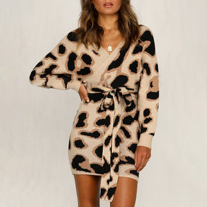 Womens Sexy Leopard Long Sleeve Sweater Mini Dress