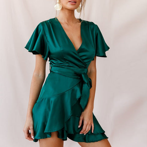 Women's fashion V-neck ruffled solid color dress