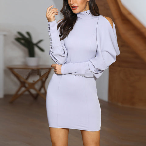 Solid Color High Collar Lace-up Off Shoulder Bodycon Dress
