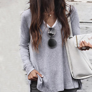 Casual Round Neck Stitching Solid Color T-shirt