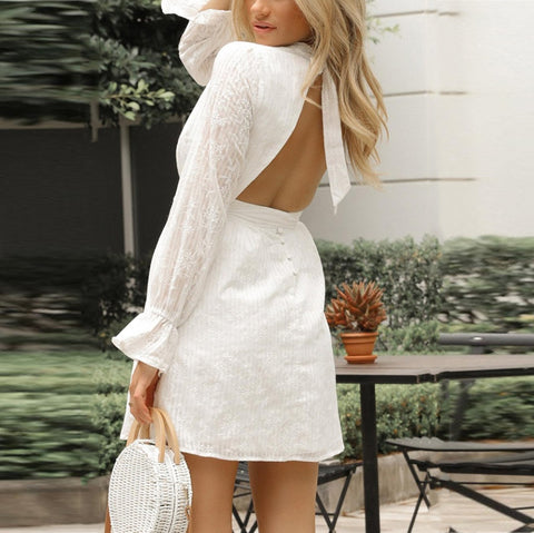 Fashion Long Sleeve Bare Back Dress