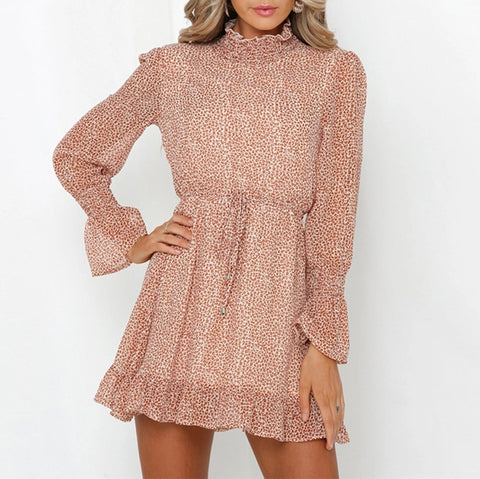 Beach Floral Ruffle Long Sleeve Dress