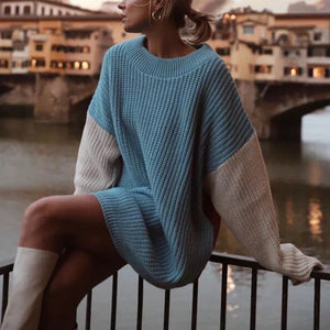 Fashion Round Neck Bat Sleeve Color Drop Jacket Knit Sweater