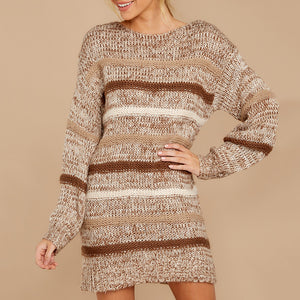 Fashion Round Neck Striped Long Sleeve Sweater Dress