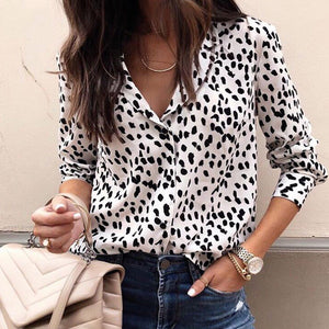 Fashion Leopard Printed Colour Loose Blouse