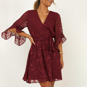 Casual V-neck lace sleeve short dress