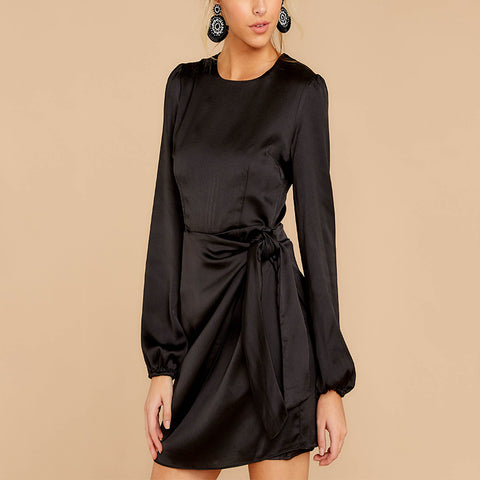 Women cool and fashion silk long sleeve dress