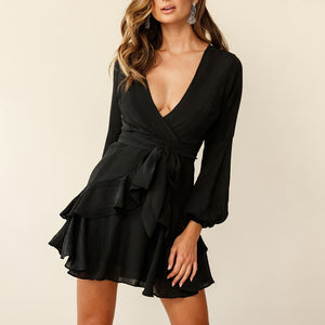 Black waist deep V-neck women's dress
