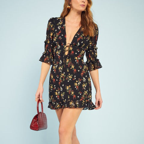 Women's Sexy Deep V-Neck Floral Print Petal Sleeve Dress