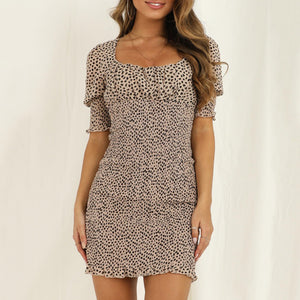 Women's leopard Short Sleeve Dress