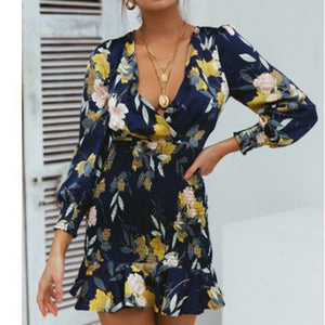 Women's fashion printed V-neck cross mini dress
