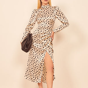 Fashion Polka Dot Round Neck Long Sleeve Dress