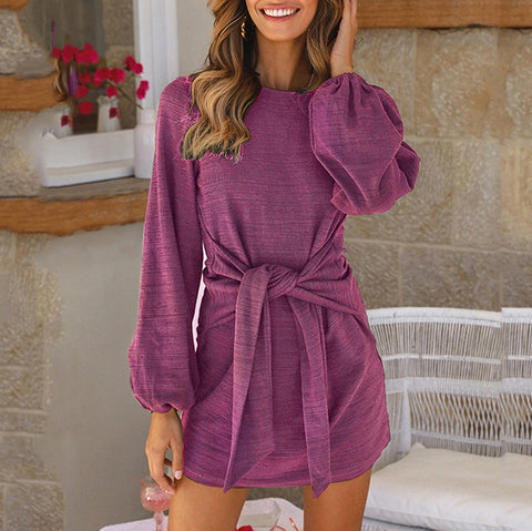 Womens Casual Round Neck Long Sleeve Loose Dress