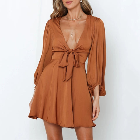Sexy Solid Color V Neck Belted Dress