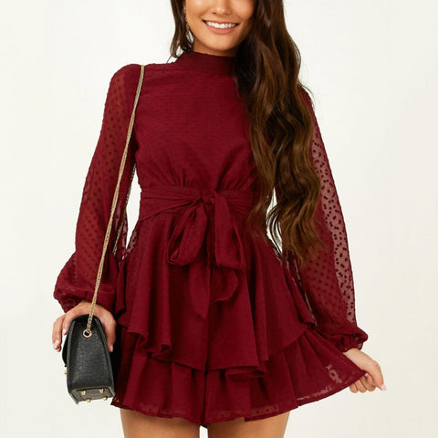 Lace Up Lace Puff Sleeve Dress