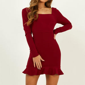 Women's Fashion Solid Color Long Sleeve Dress