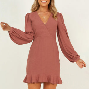 Fashion pure color V-collar long-sleeved dress