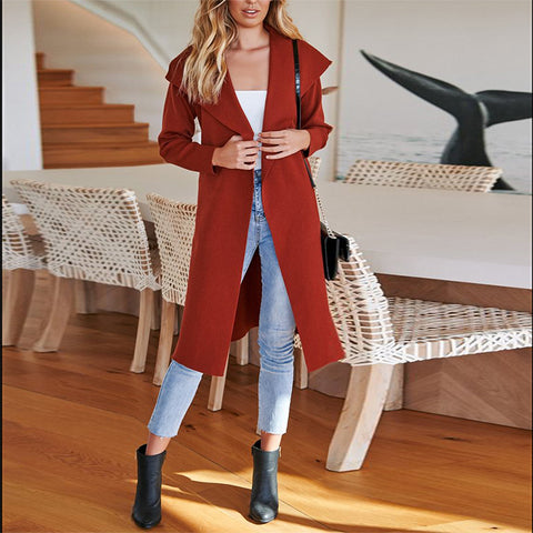 Fashion Individuality Pure Colour Split Long Coat
