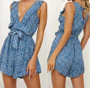 Fashion Small Floral Waist Tie Rope Jumpsuit