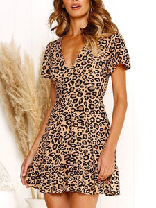 Casual V Neck High-Waist Leopard Print Short Sleeve Mini Dresses