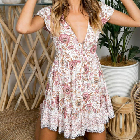 Women's V-Collar Holiday Casual Flower Print Casual Dress