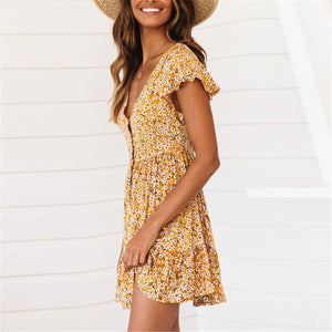 Summer Floral Printed V Collar Button Embellished Vacation Dress