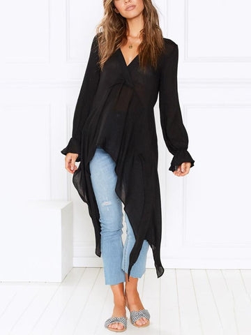 Casual See-Through V Neck Pure Colour Loose Top