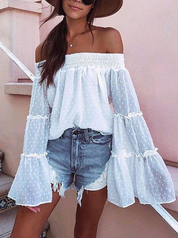 Fashion Boat Neck Ruffled Polka Dot Long Sleeve Loose Top