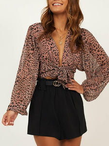 Sexy V Neck Belted Leopard Print Long Sleeve Blouse