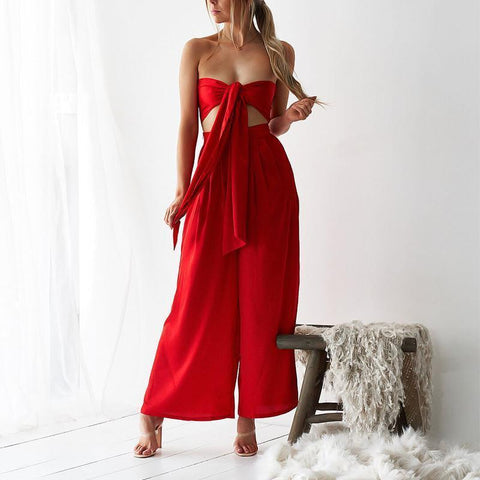 Sexy Belted Off-Shoulder Pure Colour Broad Leg Suit