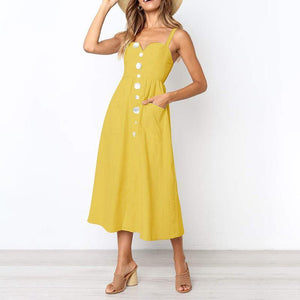 Casual Pure Colour Loose Sling Sleeveless Dresses