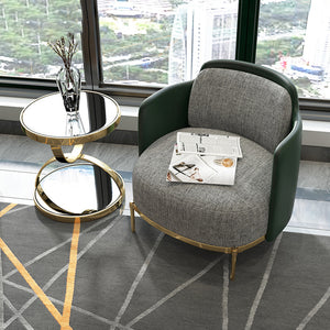 Nordic light luxury living room corner glass round corner