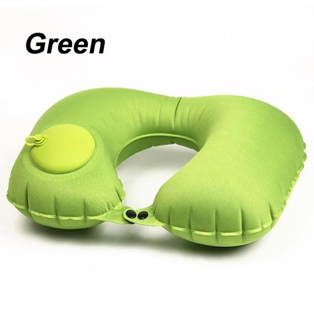 Mto wa shingo unabonyeza tu upepo unajaa Protable Soft U-Shape Travel Cushion Pillow for Car Airplane Inflatable Neck Pillow