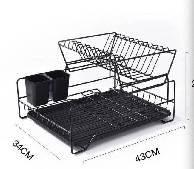 Kitchen dish rack Nordic black double plate cup sorting