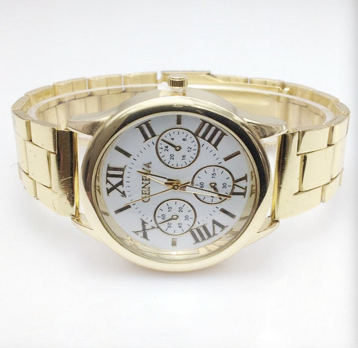 New Geneva steel band watch Roman literal three-eye men's chain watch