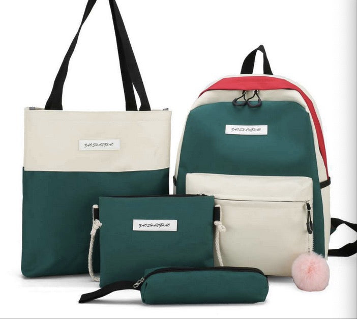 2021 New Korean style trendy bag four-piece backpack female student ins backpack college style canvas female bag