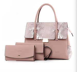 New PU female bag handbag messenger bag three-piece set